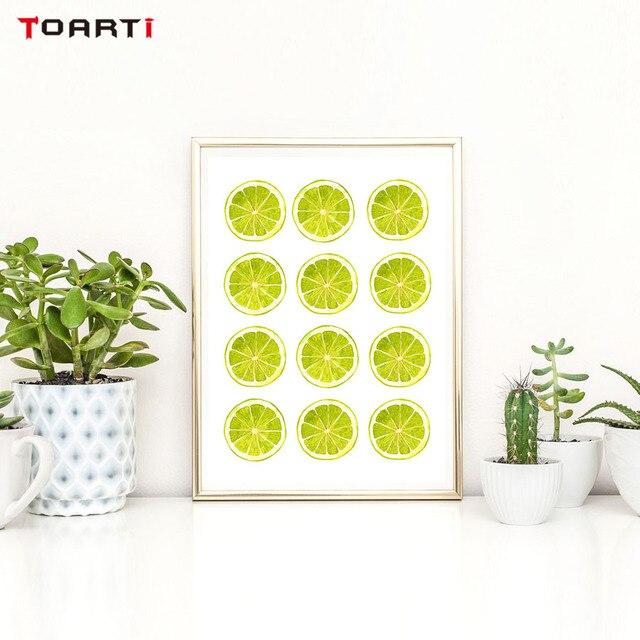 Couleurs Vives Jaune Vert Citron Mur Art Toile Peinture Cuisine