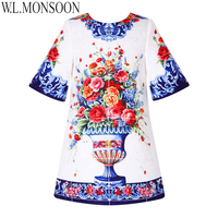 W L MONSOON Toddler Girl Dresses Kids Clothes Half Sleeve Brand Princess Dress Girls Costume Flower