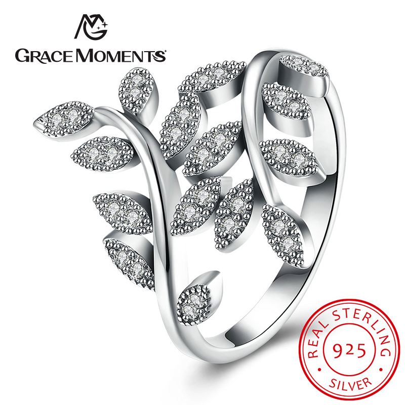 GRACE MOMENTS Authentic 925 Sterling Silver Flower Tree Leaves Enamel Female Finger Rings for Women Engagement Ring Jewelry