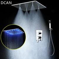 Bathroom LED Shower Set 20 Embedded RBG Ceiling Rain Shower Sets Rainfall 3 Jets Concealed SUS304 Panel Bath & Shower Faucets