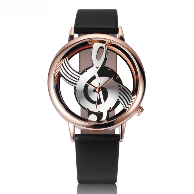 Best Sell Quartz Musical Unique Woman Watch zegarek damski Leather Analog Hollow