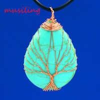 Gem Pedra Natural Da Árvore Da Vida Encantos Amuleto Pingente Gota de Água Colar de Corrente Subiu Reiki Pendulum Bijuterias 1 pcs
