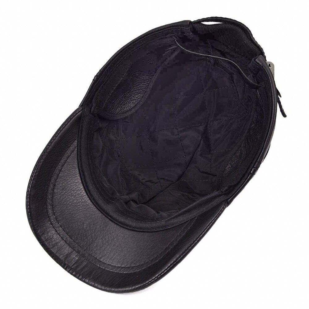 VOBOOM pelle di Pecora Caldo Cappello Maschile Protezione Dell orecchio  Della Protezione Del Cadetto Cappello Per Uomo Genuino Cappello di Cuoio ... c9ee313bb9bd