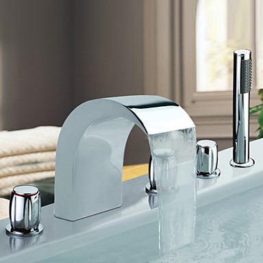 Chrome Roman Design Waterfall Bathtub Faucet 5PCS Mixer Tap With Hand Shower