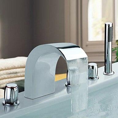 chrome roman design waterfall bathtub faucet 5pcs mixer tap with hand shower