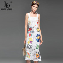 LD LINDA DELLA Runway Designer Summer Dress Women's Spaghetti Strap Hollow out Backless Elegant White Lace Bodycon Dress