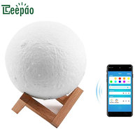 New Arrive 3D Print Moon Lamp Smart Wifi Moon Night Lights Touch Color Change APP Control Smart Lamp for Table Creative Gifts