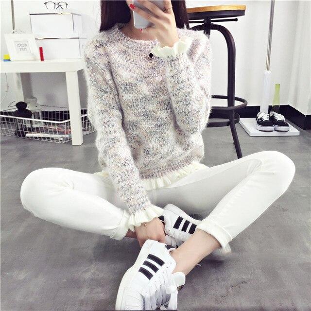 Wanita Rajutan Sweater 2018 New Fashion Lengan Panjang O-Neck Tops - Pakaian Wanita - Foto 3