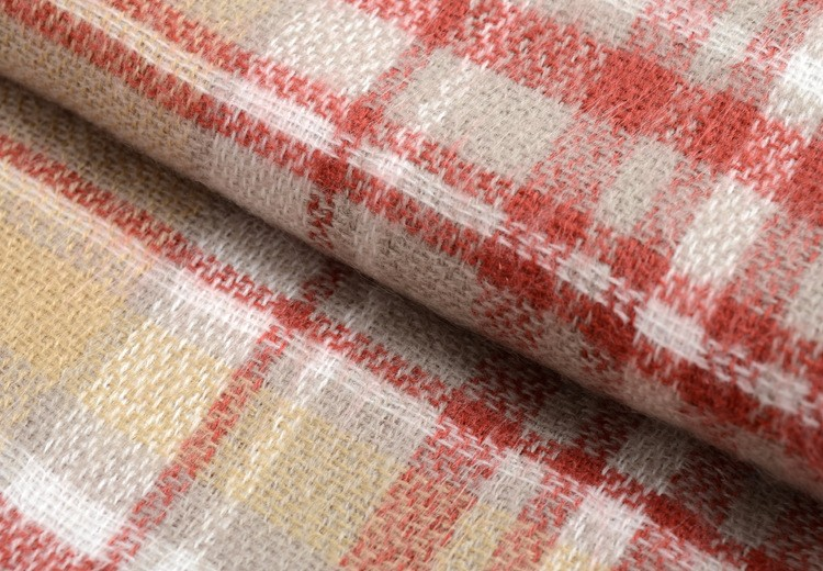 Beige Pink Plaid Scarf | Blanket Scarves