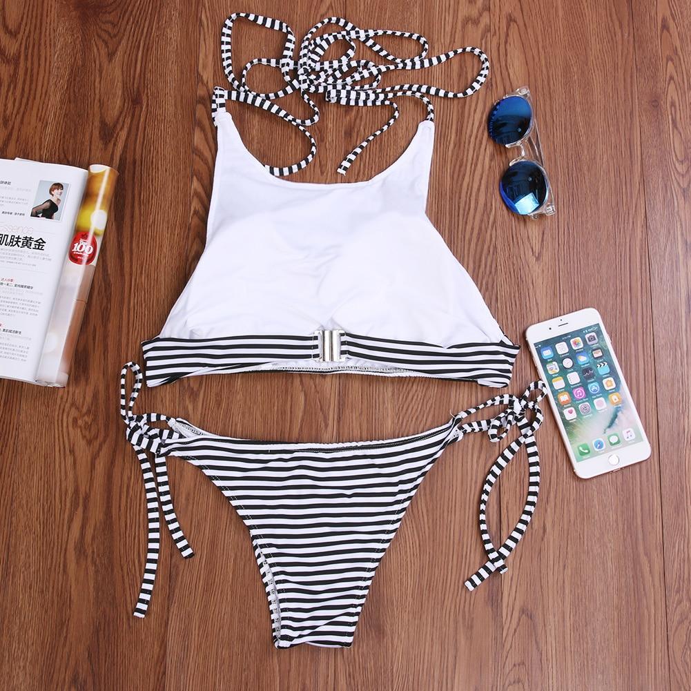 2017 Women Swimsuit Lady Sexy Bikini Swimwear Bra Female Padded Stripe Swimsuit Beachwear Bandage Push up Bikini Set Biquinis 5