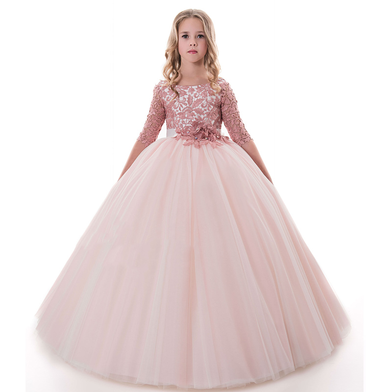 New Arrival Elegant Girls O-neck Half Sleeves Open Back Lace Ball Gowns Flower Girls Princess Wedding Pageant Birthday Dresses green crew neck roll half sleeves mini dress