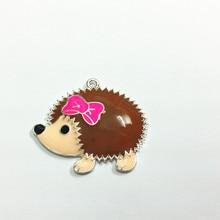 Newest ! 43mm*35mm   10pcs /lot  Silvery Plated  Hedgehog  Enamel  Pendant