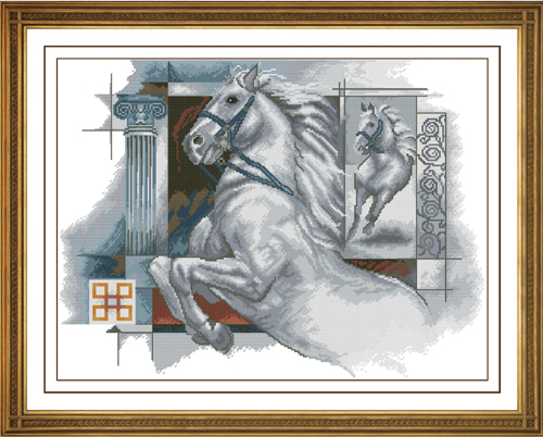 Fishxx Cross Stitch D252animal leap Flying white horse cloth water soluble 100 accurate pattern 11CT Need