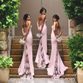Sexy Spaghetti Straps Lace Satin Bridesmaid Dresses 2016 New  Appliques Blush Pink Mermaid Prom Dresses
