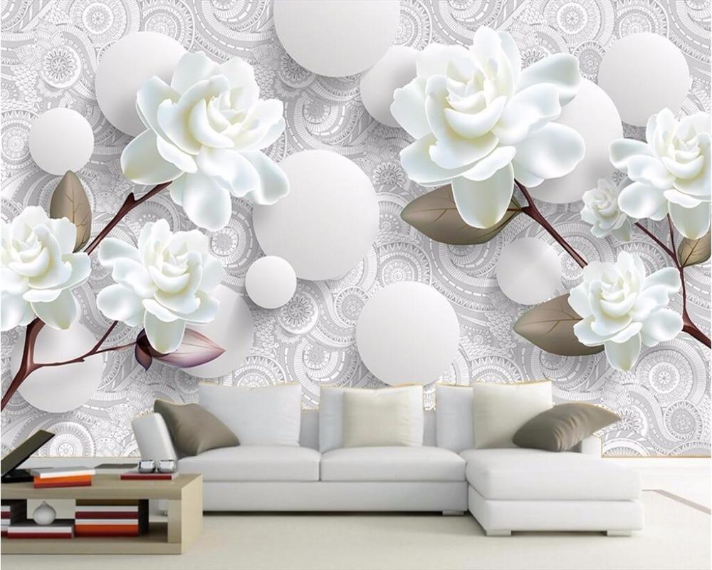 US $8 85 OFF Beibehang Wallpaper Kustom 3D Foto Mural Tiga Dimensi Minimalis Bunga Latar Belakang Dinding Ruang Tamu Kamar Tidur 3D