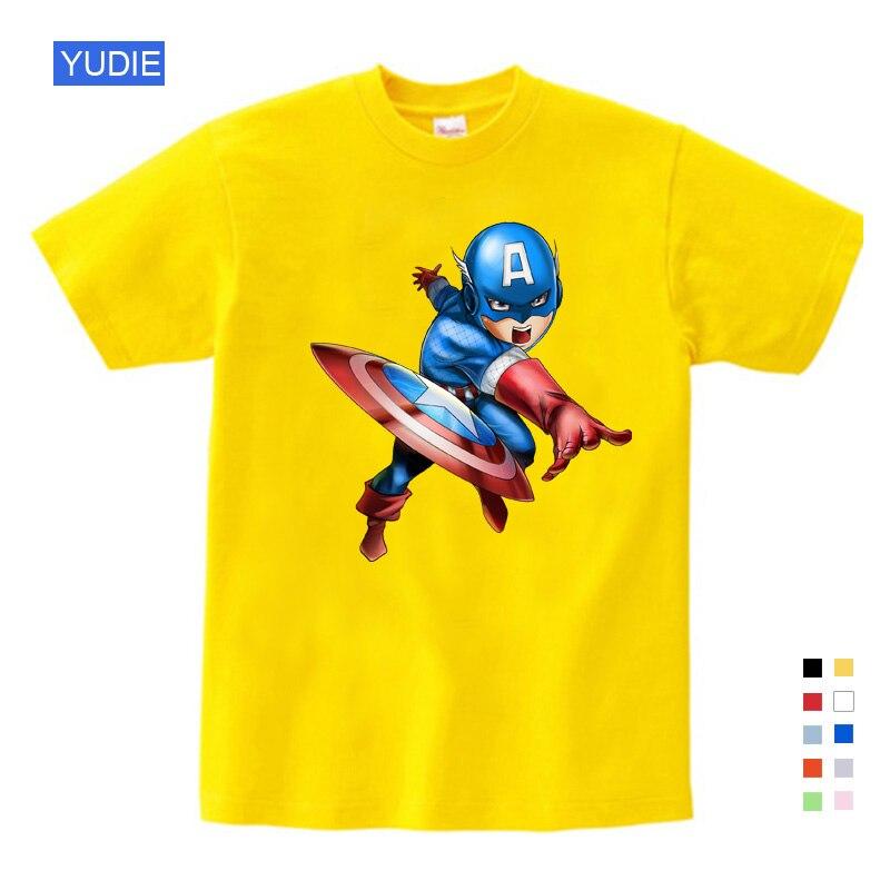 Comic Super hero Boy TShirt Homens Cosplay Meninas Camisetas Superman Batman Capitão América Filme Super hero Tee Frete grátis YUDIE