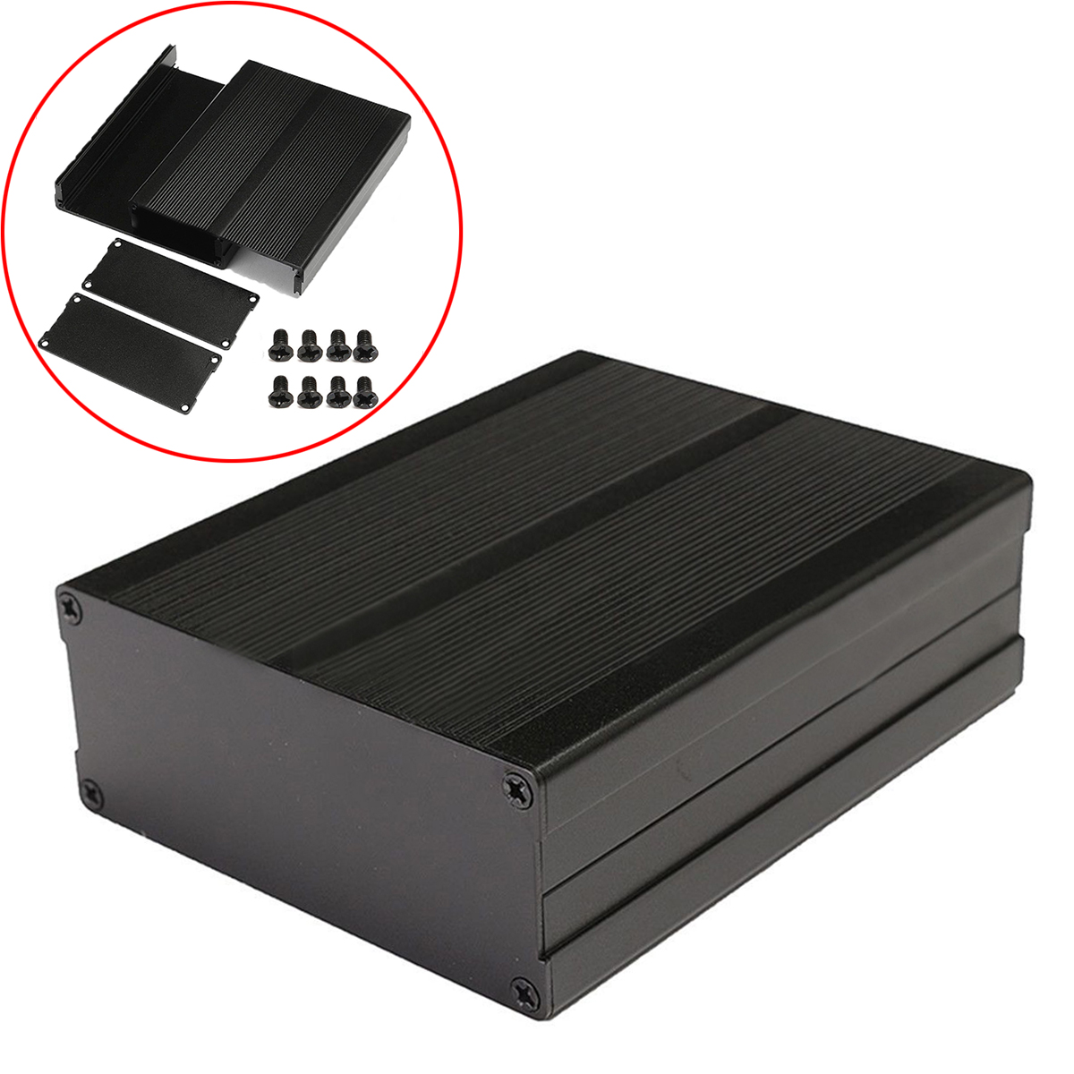 Mayitr Split Body Aluminum Box Enclosure DIY Electronic Project Case Black Aluminum Instrument Case with 8pcs Screws 120*97*40mm drdj1 aluminum 10v 1000uf electrolytic capacitor for diy project black 50 pcs