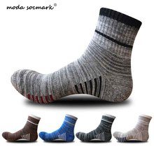 Moda Socmark High Quality Men Outdoor Sports Elite Basketball Socks Cycling Compression Cotton Bottom Mens sock
