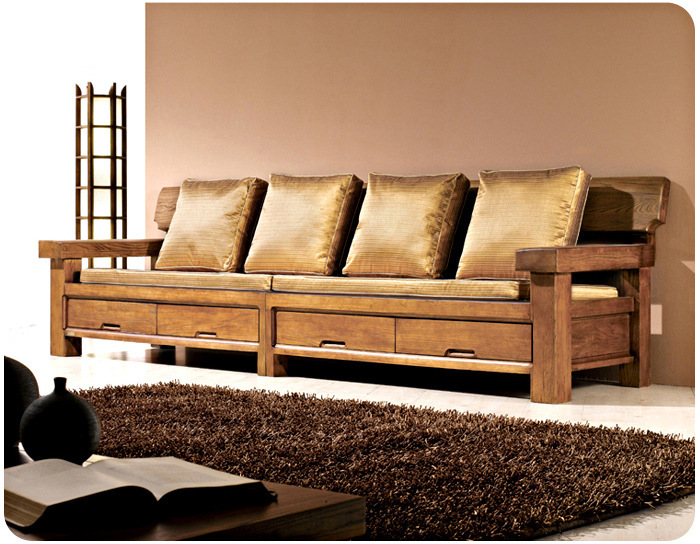 Old Elm Solid Wood Sofa Combination Living Room Sofa With Storage Drawers  Antique Four Bit Wood Sofa In Bookcases From Furniture On Aliexpress.com |  Alibaba ...
