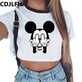 夏のファッション原宿セクシーなタンククロップトップ白 Tシャツ服の女性のかわいいマウスプリント Croptop 半袖