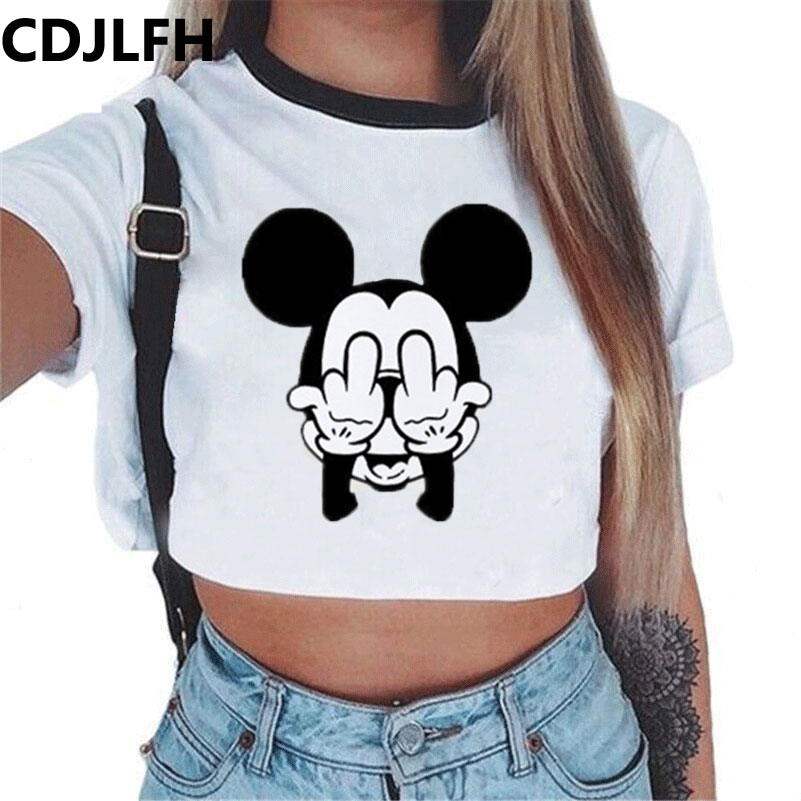 Summer fashion Harajuku <font><b>Sexy</b></font> tank <font><b>Crop</b></font> <font><b>Top</b></font> White T Shirt Clothes <font><b>Women</b></font> Cute mouse printed Croptop Short sleeve image