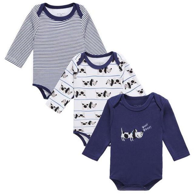 Recém Bebê Manga Longa Bodysuit 100% Algodão Roupas de Bebê Macacão de Bebê Dos Desenhos Animados Impresso Roupas de Inverno 3 PÇS/LOTE 0-12 meses