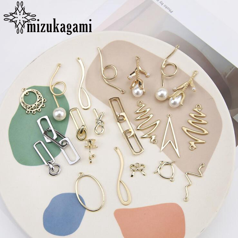 Zinc Alloy Golden Metal Irregular Shape Charms Earrings 10PCS/lot For DIY Fashion Drop Earrings Jewelry Making Accessories