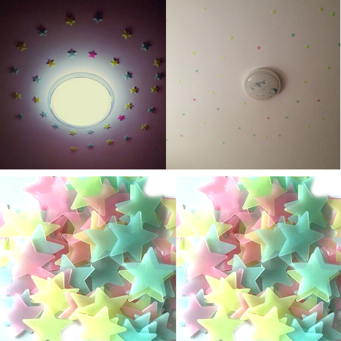 100pcs Pack Luminous Stars Wall Stickers Home Glow In The