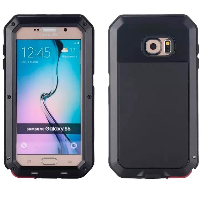 Водонепроницаемый ударопрочный чехол для телефона samsung Galaxy S6 S6edge S7 S7Edge PLUS NOTE4 5 металлический алюминиевый Прочный чехол из закаленного стекла
