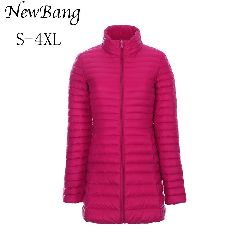 Ultra Light Duck Down Jacket Women Portable Winter Long Jacket Stand Collar Slim Parkes Plus 4XL With Carry Bag chaquetas mujer