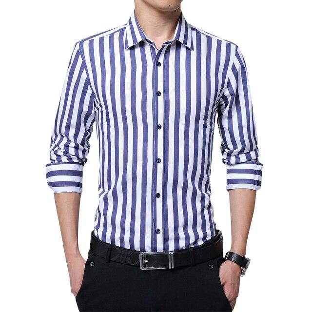 62fbf188de Legível Moda Casual camisa Listrada de Manga Longa Homens Slim Fit Negócios  Vestido de Camisa Social
