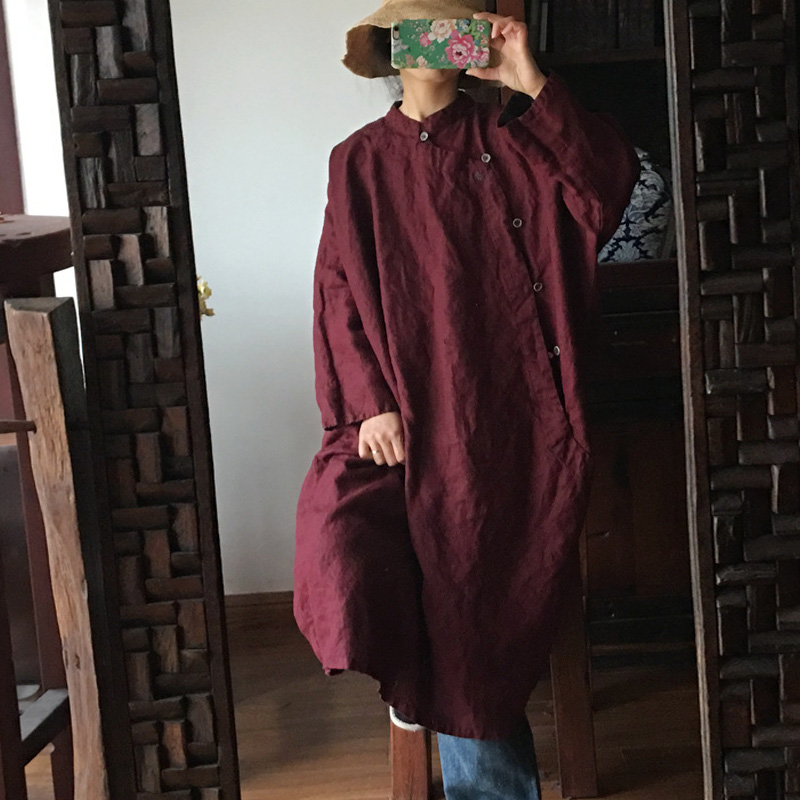 Johnature Women Linen Chinese Style Dress Stand Long Sleeve 2019 Spring New Robes Solid Color Original