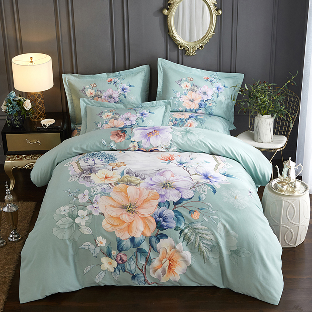 2018 Fashion Flowers Green Bedlinens Winter Thick Sanding Cotton Queen King Size Duvet Cover Set Pillowcases Bedding Set2018 Fashion Flowers Green Bedlinens Winter Thick Sanding Cotton Queen King Size Duvet Cover Set Pillowcases Bedding Set
