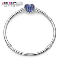 925 Sterling Silver Bracelet Bangle With Blue Crystal Love Heart Clasp Original Logo For Men Women