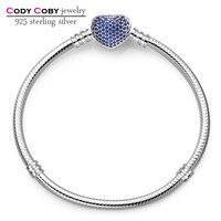 925 sterling silver bangle bransoletka & z niebieski kryształ love heart zapięcie oryginalne logo dla kobiet mężczyzn biżuteria pulsera berloques