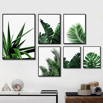 Green Leaves Wall Art Canvas Painting Monstera Palm Banana Posters and Prints Decorative Modern Picture Living Room Home Decor black white palm tree leaves canvas posters and prints minimalist painting wall art decorative picture nordic style home decor