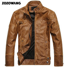 ZOZOWANG 2019 NEW Autumn Winter Motorcycle Leather Jackets Men's Leather Coat Thick Faux PU Jacket Mens Brand Clothing Male Coat new artificial leather motorcycle jacket autumn winter pu male faux leather jacket men casual pockets thick warm mens jacke