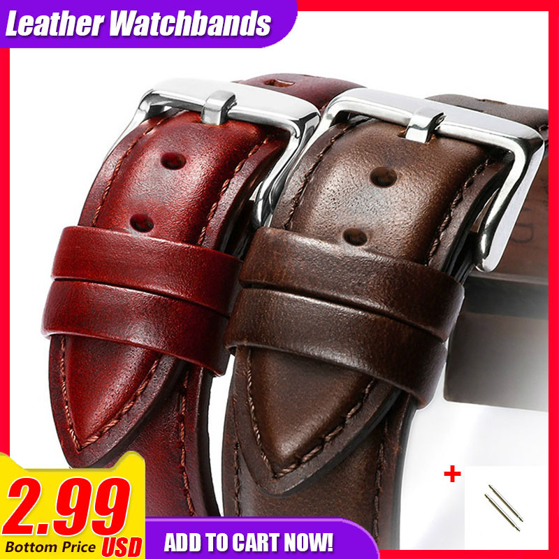 Leather Watchband Men Women Watch Band 22mm 20mm 18mm 16mm 14mm 12mm Wrist Watch Strap On Belt Watchbands Bracelet Metal Buckle все цены