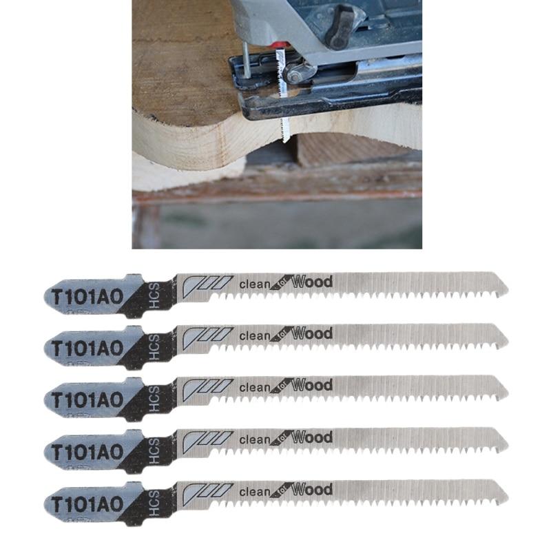 5 Pcs T101AO HCS T-Shank Jigsaw Blades Curve Cutting Tool Kits For Wood Plastic