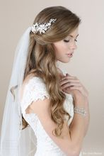 White Long Bridal Veil With Crystal Hair Comb