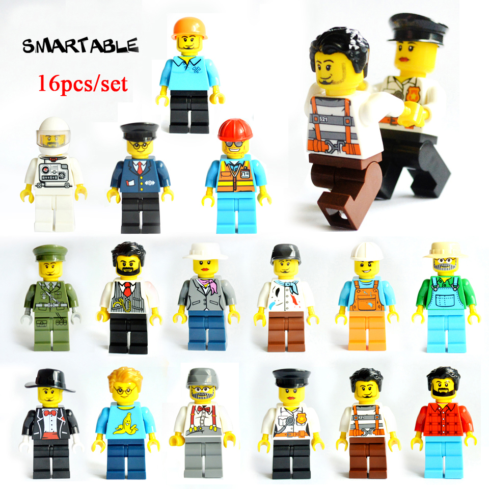 Smartable 16pcs Building Blocks Figures brick DIY toys Compatible Legoing Figures city Police soldier for Christmas Gift 1604B smartable base plate for small bricks baseplates 50 50 dots diy building blocks compatible legoing toys christmas gift 2pcs lot