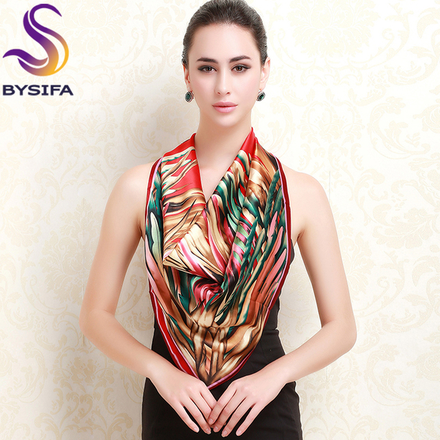 Silk Scarf Autumn Winter Female Large Square Scarves Wraps Printed 90*90cm 100% Mublerry Silk Brand Ladies Red Silk Scarf Shawl