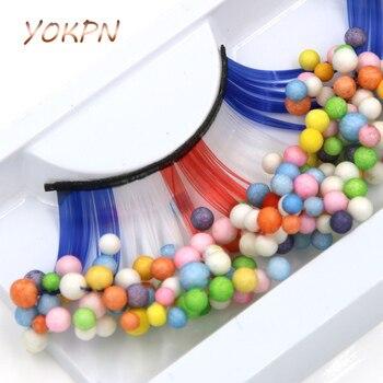 YOKPN Color Ball Exaggerated False Eyelashes Blue Red White Crisscross Thick Fake Eyelashes Studio Art Makeup Eye Lashes