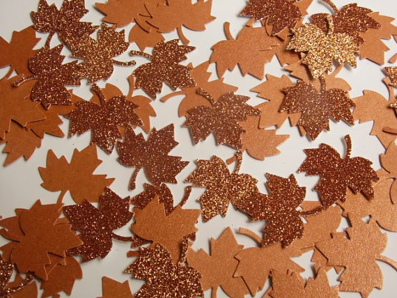 Fall table decorations copper leaf confetti leaf table scatter fall table decorations copper leaf confetti leaf table scatter fall wedding decor junglespirit Images
