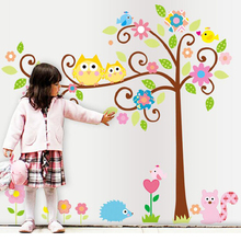 large children room tree wall sticker owl removable 3d cartoon decals kids adhesive baby bedroom pictures