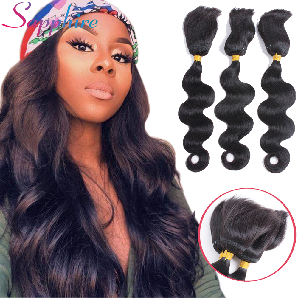 Sapphire Hair Brazilian Straight Hair Braid In Bundles Body Wave Human Hair 3 Bundles Na ...