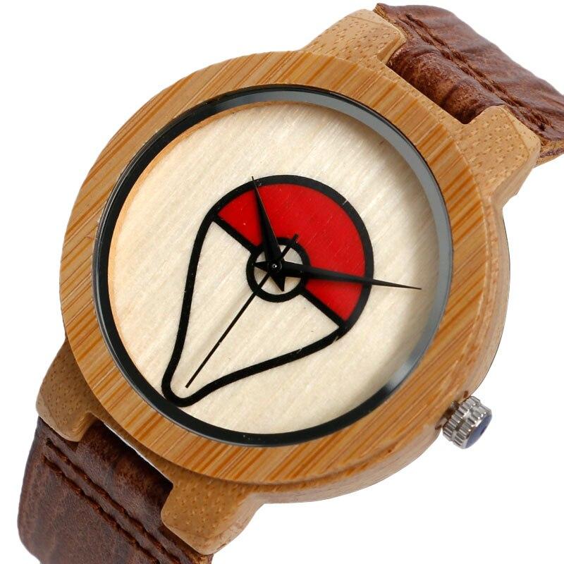 Men's Nature Wood Watches Genuine Leather Strap WristWatch Fashion Trendy Pokemon Bamboo Creative Male Clock Pokeball Gift