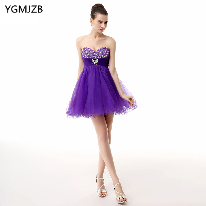 Little   Dress   Purple   Cocktail     Dresses   2018 A Line Sweetheart Glitter Beaded Crystal Organza Party   Dress   Backless Homecoming   Dress