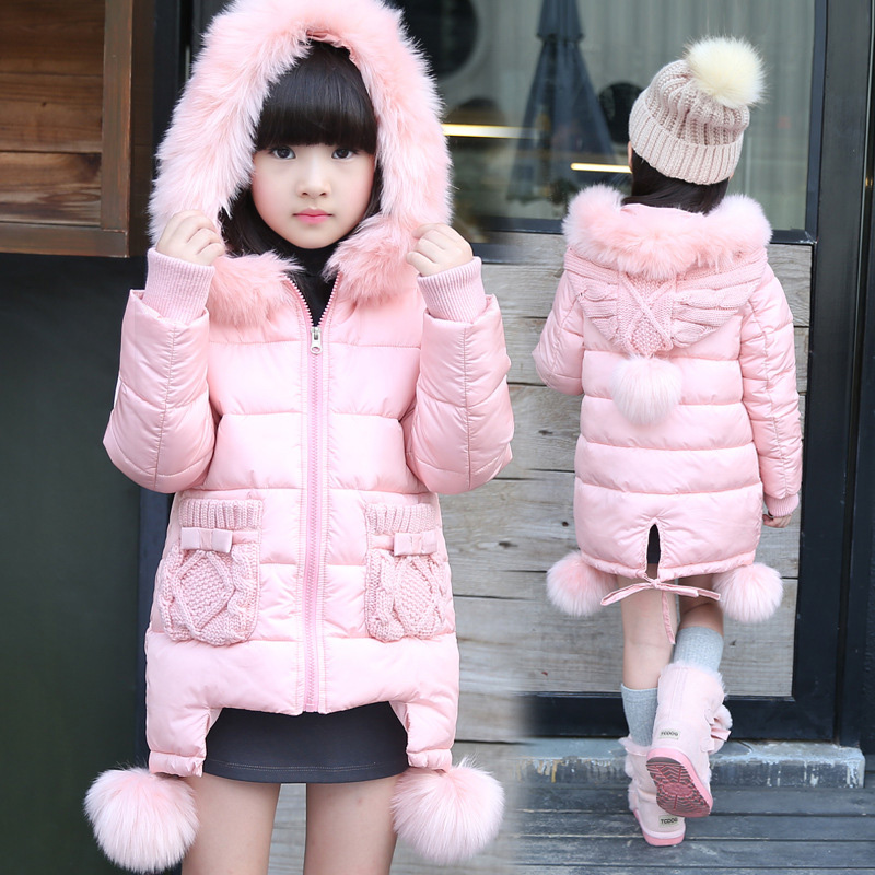 Kız Kış Mont 2016 Yeni Stil Kız Yastıklı Noel Ceketler Kız Kış Okulu Giyim Parka Çocuk Giyim Kış Palto