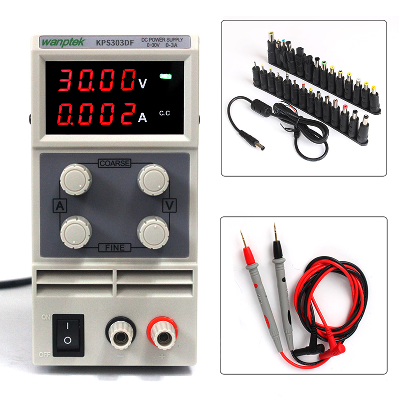 Mini Laboratory Adjustable Digital DC Power KPS303DF, 24Bit Terminal Head Connector Needle Tip Tester Probe DC Power Supply